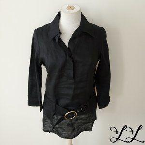 Etam Top Shirt Blouse Tunic Long Black Ramie Belt